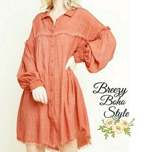 Dresses & Skirts - Boho Style Pigment Dye Tunic Shirt Dress